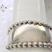 Impressive Sterling Silver Cuff Bracelet, Beaded Edge