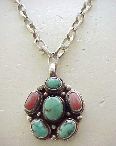 Sterling, Turquoise, Coral Pendant Necklace with Very Chunky Chain