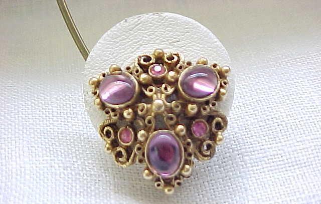 11 - Florenza Earrings Purple Cabochons, Pink Rhinestones