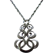 Chic Trifari Silvertone Pendant Necklace - Brushed and Shiny Metal
