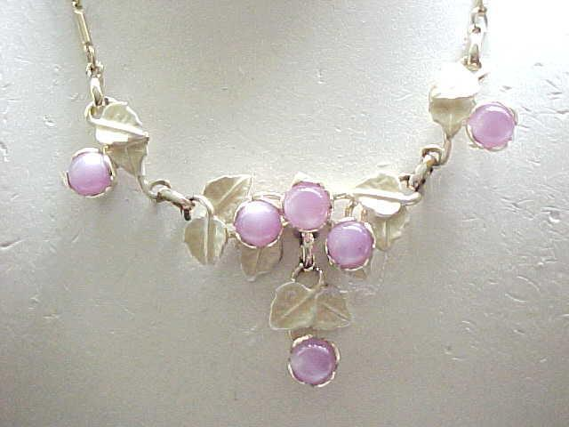 Lovely Purple Glass Faux Moonstone Necklace, Earrings