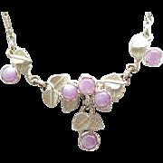 Lovely Purple Glass Faux Moonstone Necklace, Earrings