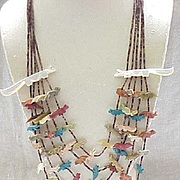 5 Strand Zuni Fox Fetish Necklace