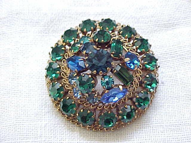 Beautiful Rhinestone Pin, Earrings Blue, Green - Austria