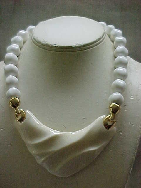 Chunky Kunio Matsumoto Necklace - White Beads, Pearlized Center