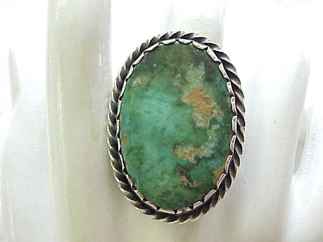 Old Pawn Sterling and Turquoise Ring - Has Pawn Numbers - size 9 1/2