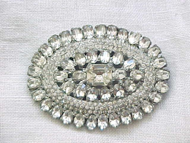 Stunning 1930's/'40's Rhinestone Brooch - Pot Metal Base