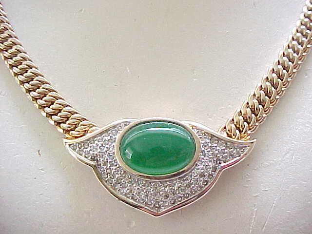Gorgeous Panetta Necklace Pave' Set Rhinestones, Green Cabochon