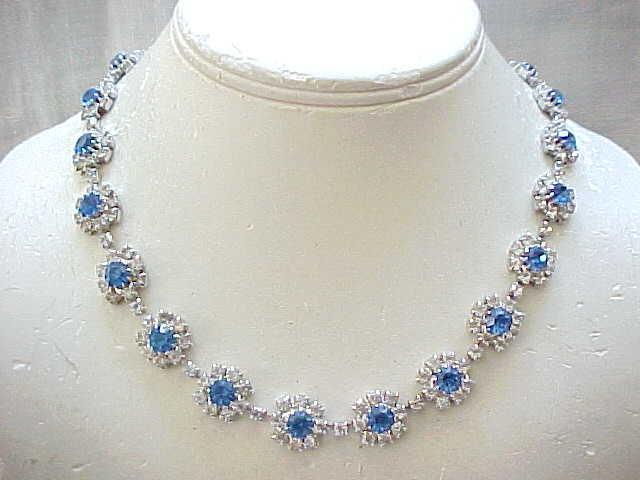 Stunning Rhinestone Necklace Sapphire Blue, Diamante