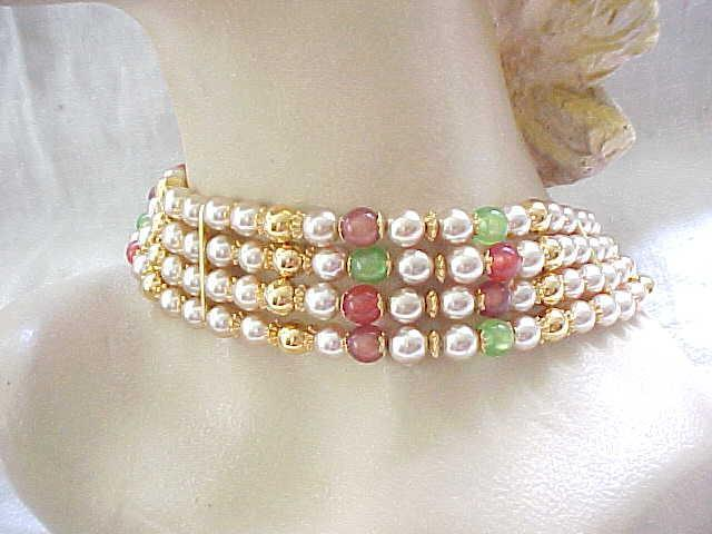 Glamorous Choker Necklace - 4 Strands of Beads