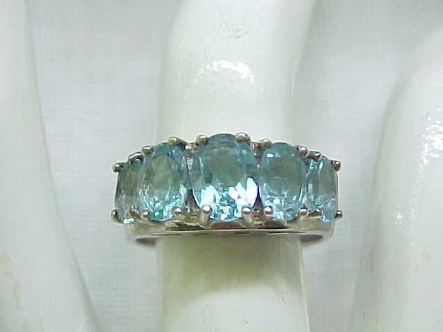 Pretty Sterling Ring, Aqua Stones - Size 8