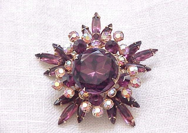 Gorgeous Purple Rhinestone Pin with Aurora Borealis