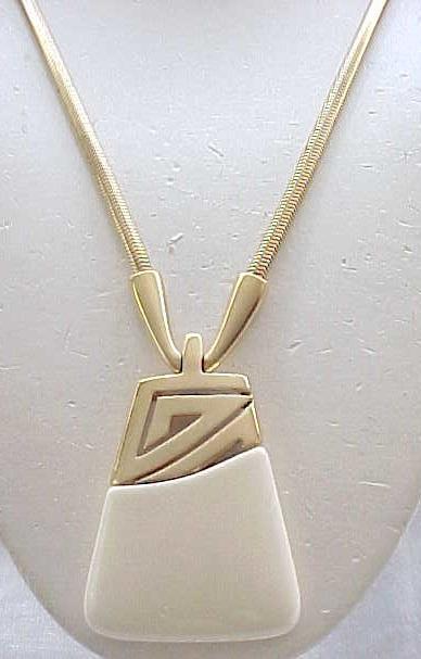 Super Chic Kunio Matsumoto Pendant Necklace - Cream, Goldtone