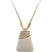 Super Chic Kunio Matsumoto Pendant Necklace - Cream, Goldtone