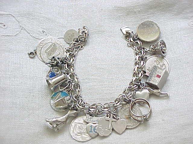 Loaded Sterling Silver Charm Bracelet - 22 Charms - 75 grams