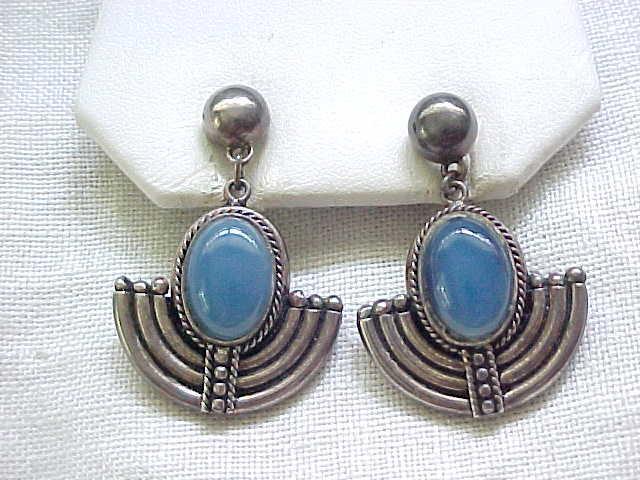 Egyptian Revival Style Sterling Earrings - Blue Stones - Pierced