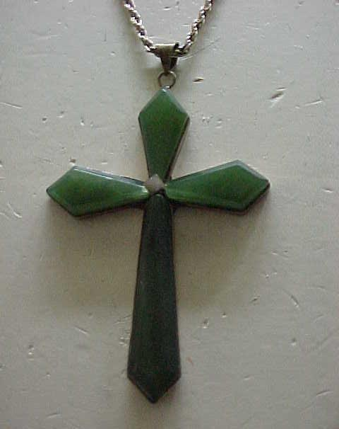 Lovely Jade and Sterling Silver Cross, Chain