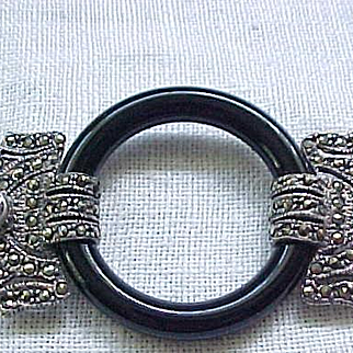 Stunning Sterling Silver and Marcasite Brooch