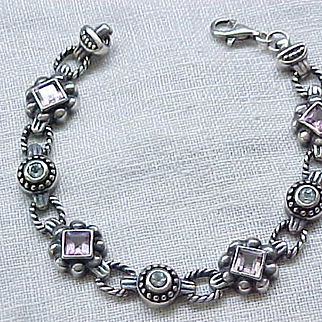 Pretty Sterling Silver Bracelet with Purple and Aqua Stones