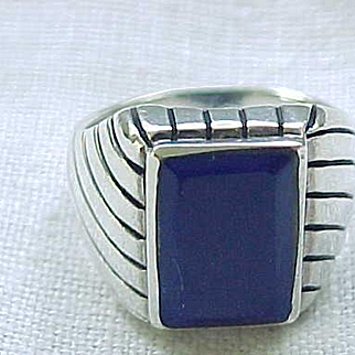 Sterling Silver and Lapis Ring - Size 12