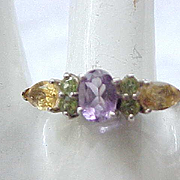 12 - Sterling Silver Ring - Purple, Peridot,Topaz - Size 10