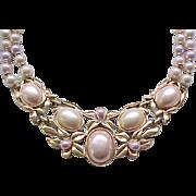 Pretty Kunio Matsumoto Floral Faux Pearl Necklace
