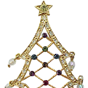 Avon Christmas Tree Pin Rhinestones and Crystals