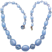 09 - Lovely Blue Moonglow and Crystal Necklace.