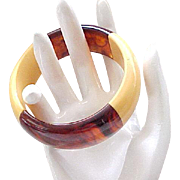 2 Tone Bakelite Bangle - Butterscotch & Rootbeer - Wide