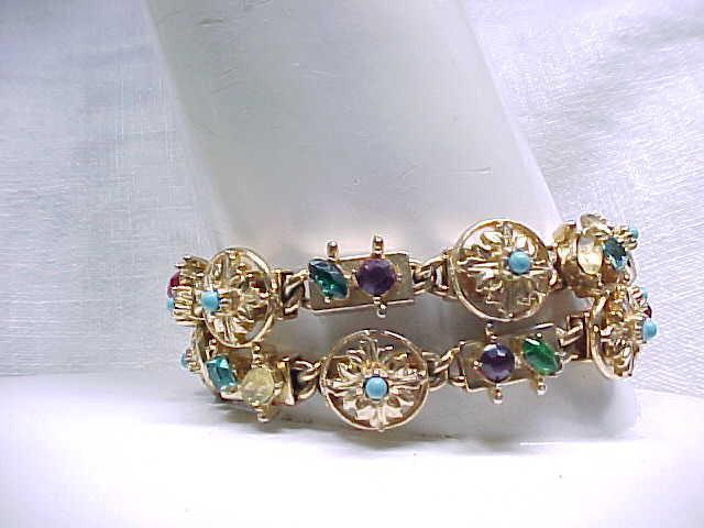 01 - Double Strand Bracelet Similar to Slide Bracelet - Rhinestones +