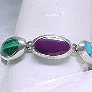 Sterling Bracelet Natural Stones - Unusual Combination