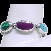 Sterling Bracelet Natural Stones - Unusual Combination