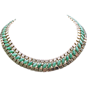 Glam Hobe' Collar Necklace, Earrings - Green Art Glass Cabochons