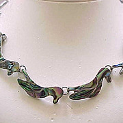 Sterling Silver Necklace with Abalone and Sterling Inlay - Taxco
