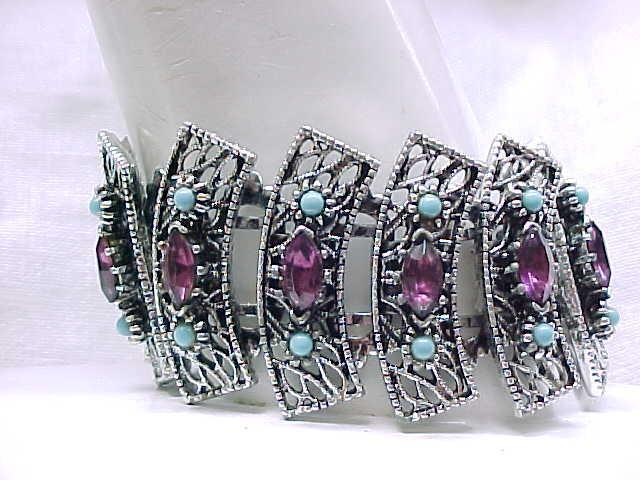 Captivating Filigree Bracelet, Earrings - Purple Rhinestones, Aqua Beads