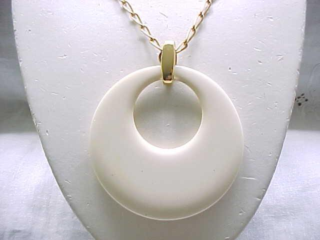 Super Chic Trifari Cream Pendant with Hoop Earrings  - Runway