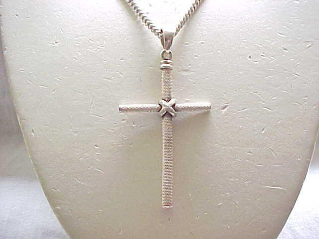 Large Sterling Cross with Chunky Sterling Chain