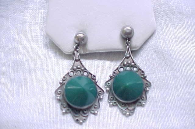 Sterling & Green Onyx Earrings - Mexico