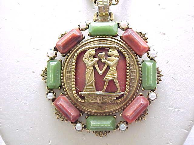 Intriguing Egyptian Revival Necklace, Earrings - Unsigned Selro, Florenza, Art