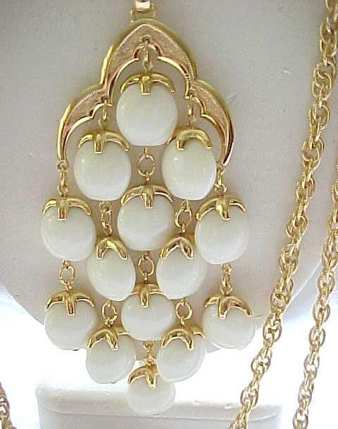 Trifari Waterfall Necklace - Creamy White, Goldtone