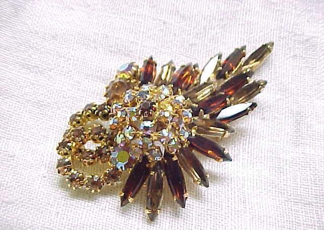 Juliana Pin & Earrings - Topaz, Aurora Borealis Rhinestones