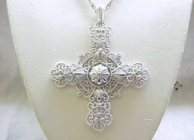 Crown Trifari Silvertone Filigree Cross Necklace