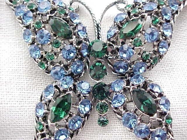 01 - Sparkling Blue & Green Rhinestone Butterfly Pin