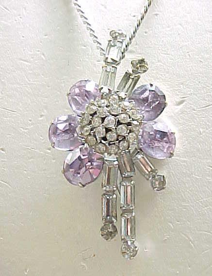 02 - Pretty Pin/Pendant -  Diamante & Lavender Rhinestones