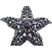 Elegant Florenza Black Rhinestone Star Shaped Brooch Pin