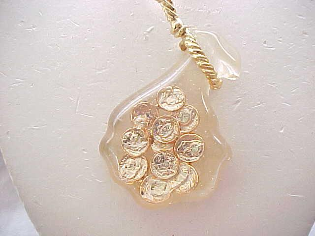 Lucite Necklace - Sack of Faux Gold Coins