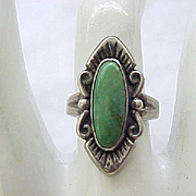 Sterling Silver & Turquoise Ring - Signed - Size 5 1/2