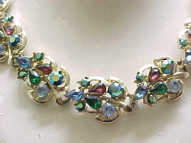 Pretty Rhinestone Necklace, Earrings - Blue, Purple, Green