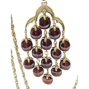 Iconic Trifari Waterfall Necklace - Rootbeer Lucite Drops