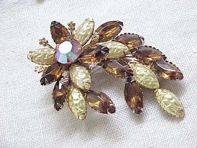 Graceful Spray Pin, Earrings - Molded Glass & Topaz Rhinestones